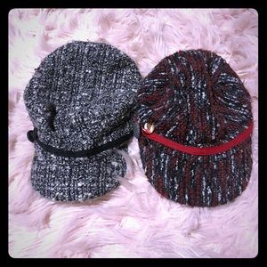 💕pair of Woven plaid hats